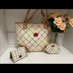 Tattersall Coach bag and matching set